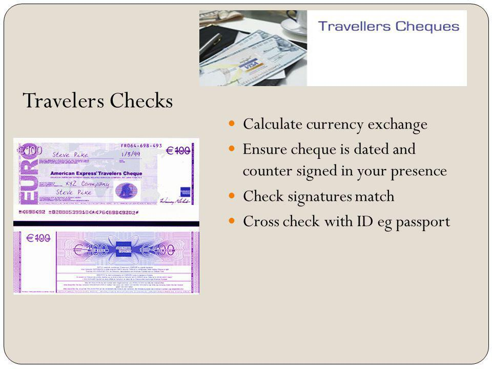 Travelers Checks Calculate currency exchange