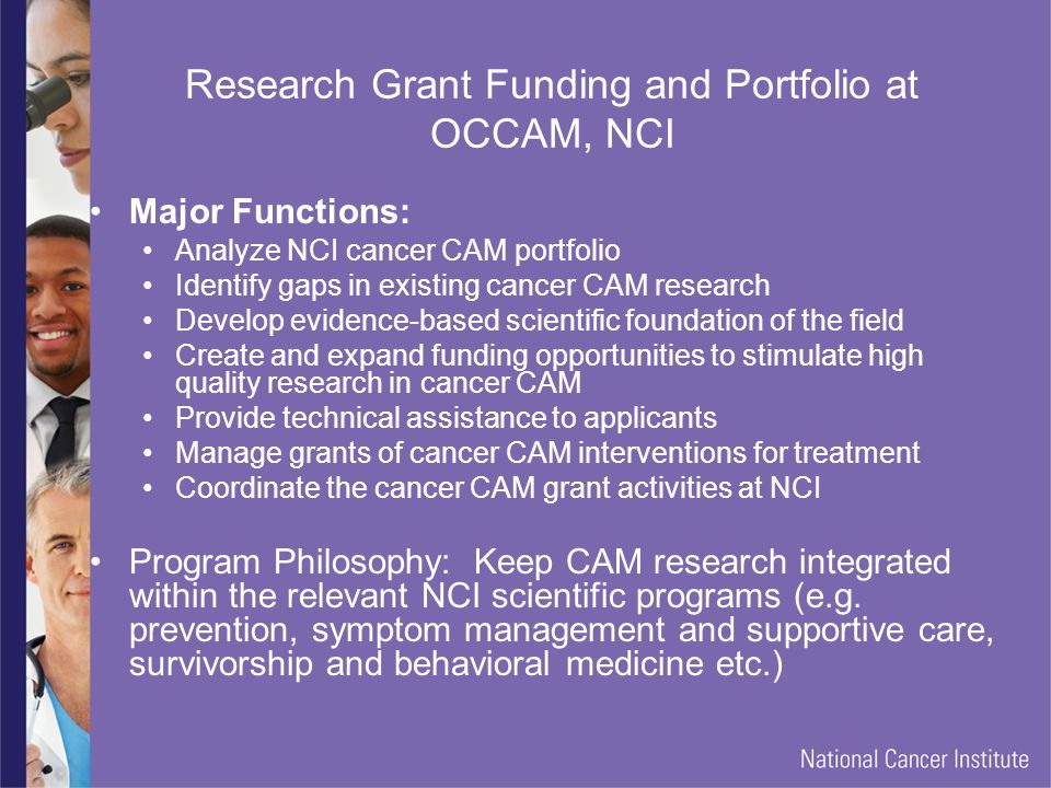Research Grant Funding and Portfolio at OCCAM, NCI