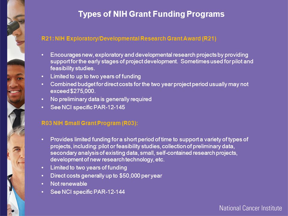 Types of NIH Grant Funding Programs