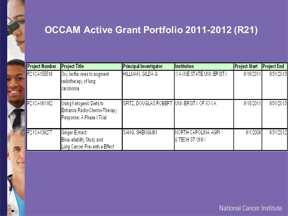 OCCAM Active Grant Portfolio 2011-2012 (R21)