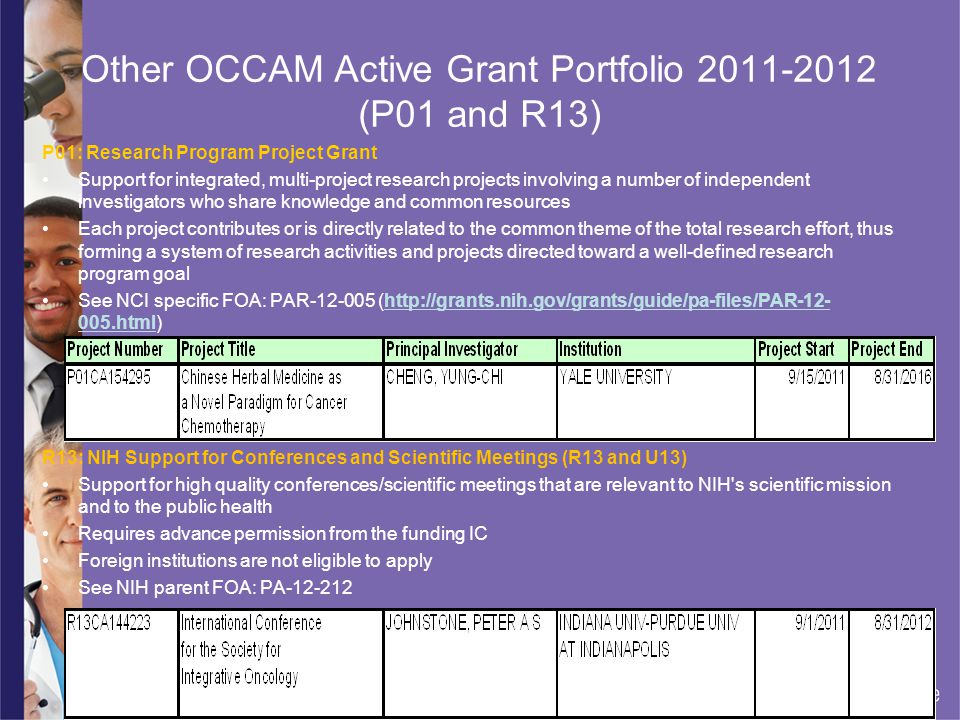 Other OCCAM Active Grant Portfolio 2011-2012 (P01 and R13)