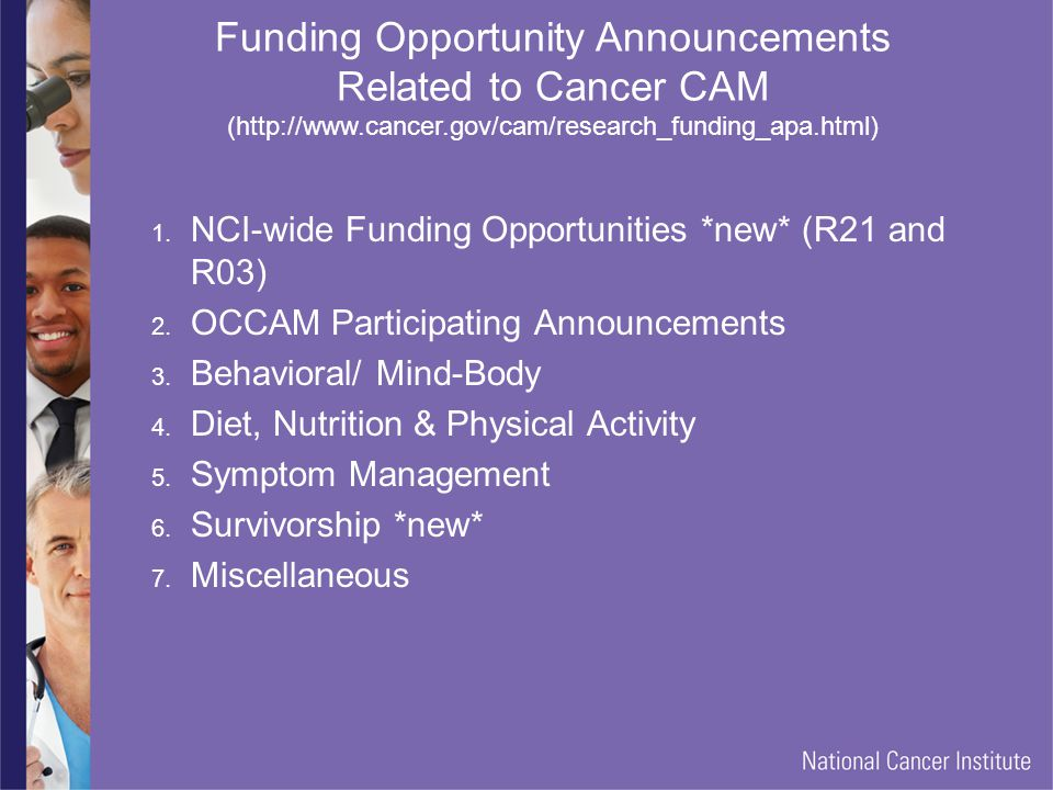 Funding Opportunity Announcements Related to Cancer CAM (http://www