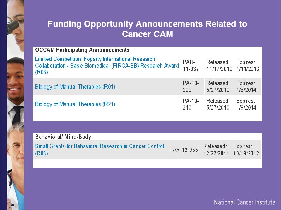 Funding Opportunity Announcements Related to Cancer CAM