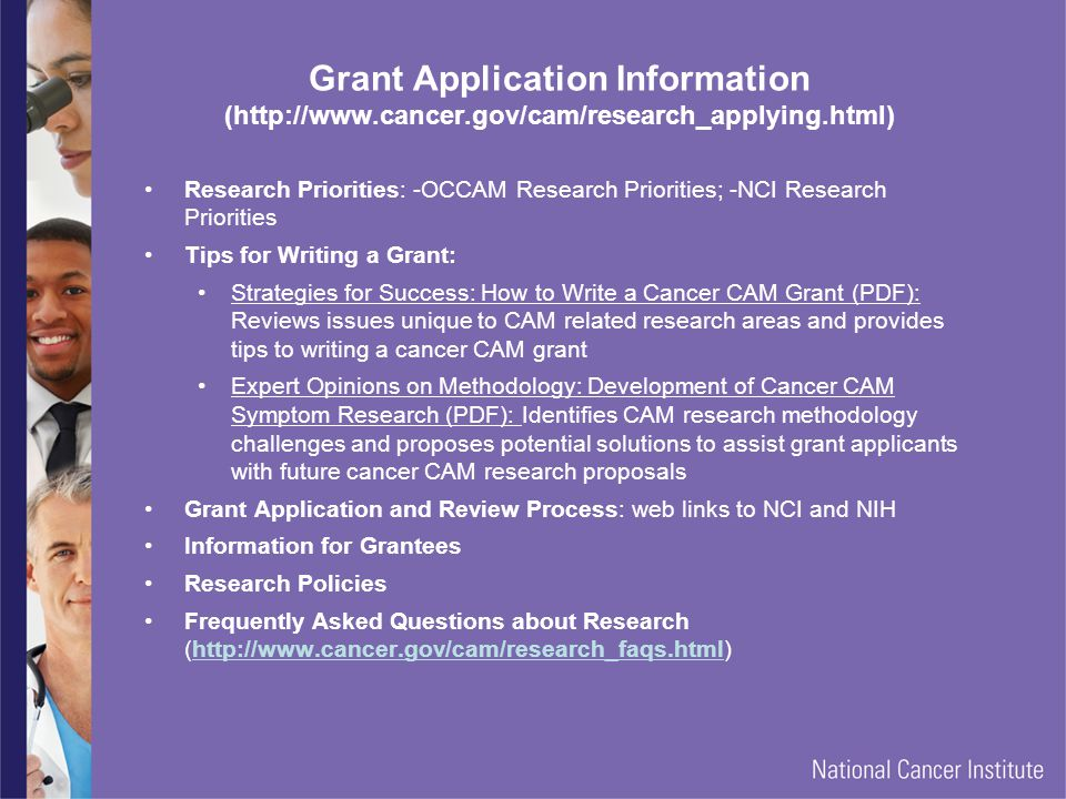 Grant Application Information (http://www. cancer