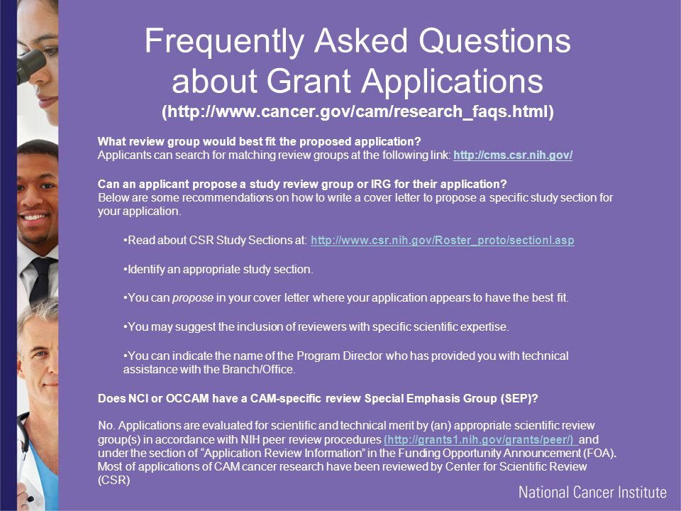 Frequently Asked Questions about Grant Applications (