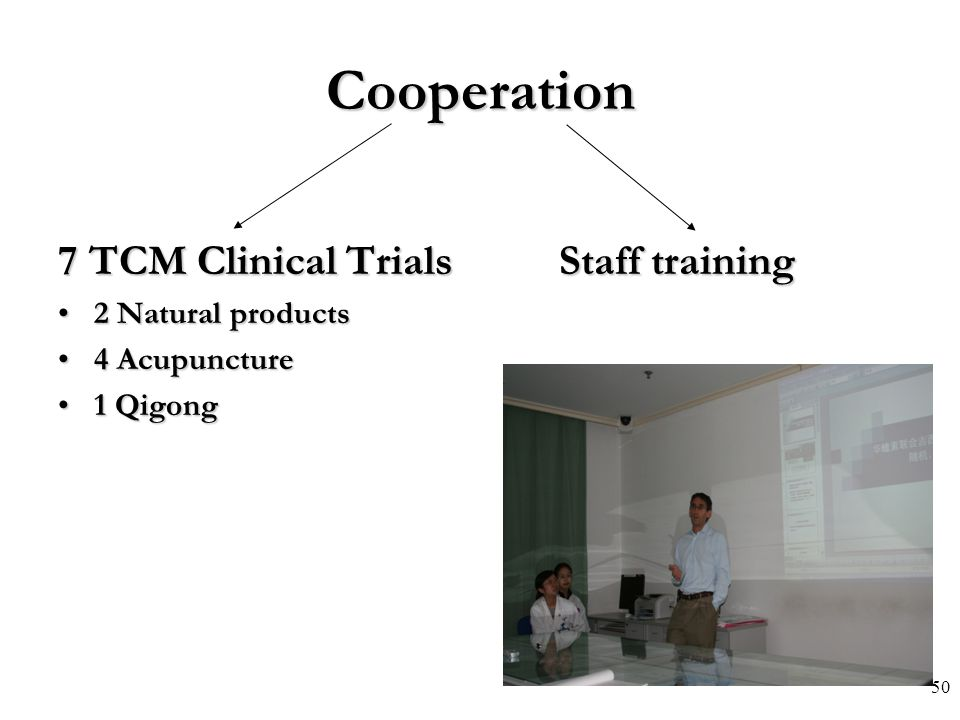 Cooperation 7 TCM Clinical Trials Staff training 2 Natural products