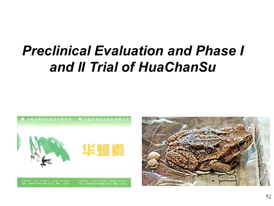 Preclinical Evaluation and Phase I and II Trial of HuaChanSu