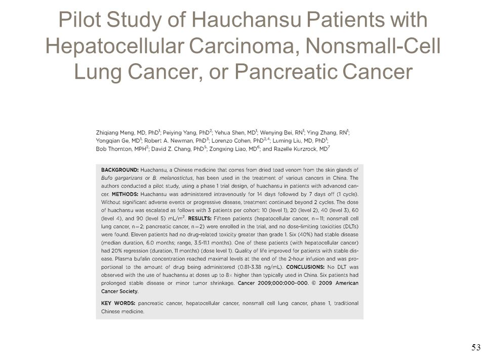 Pilot Study of Hauchansu Patients with Hepatocellular Carcinoma, Nonsmall-Cell Lung Cancer, or Pancreatic Cancer