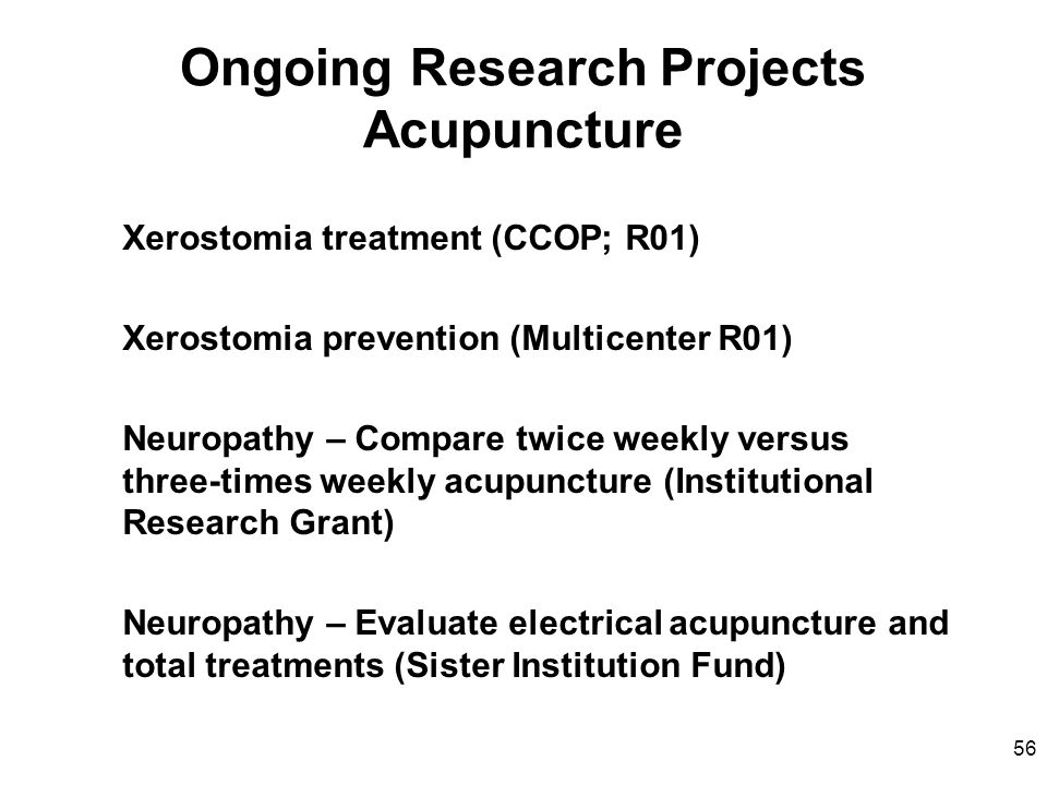 Ongoing Research Projects Acupuncture