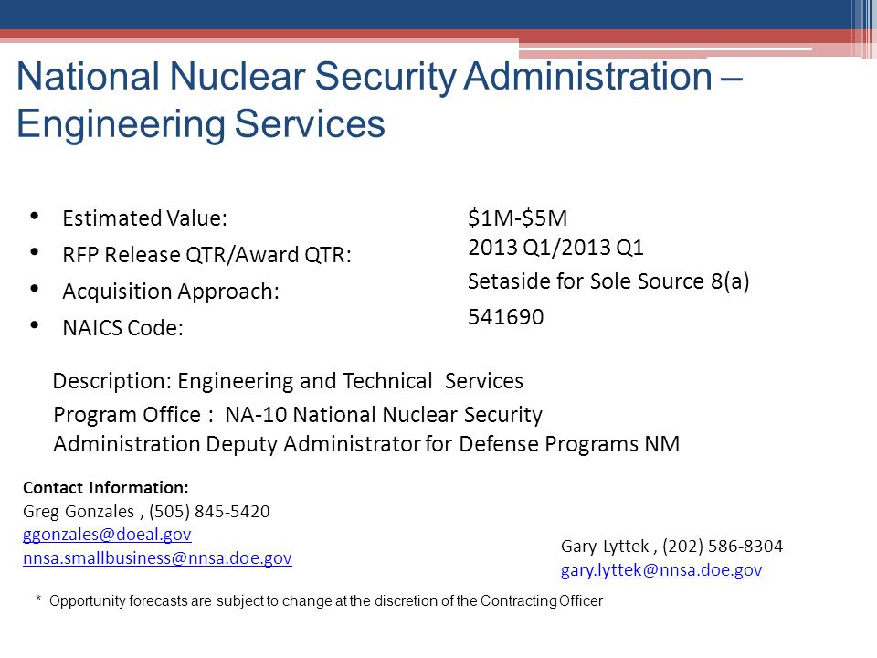 National Nuclear Security Administration – Engineering Services