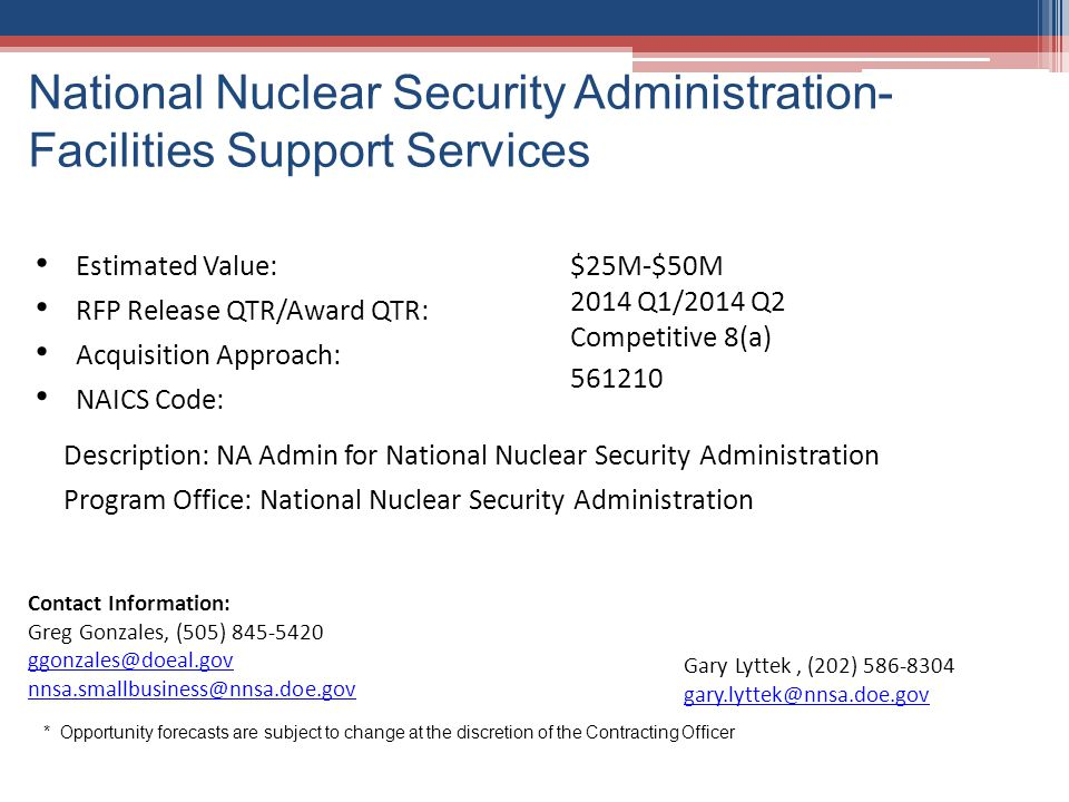 National Nuclear Security Administration- Facilities Support Services