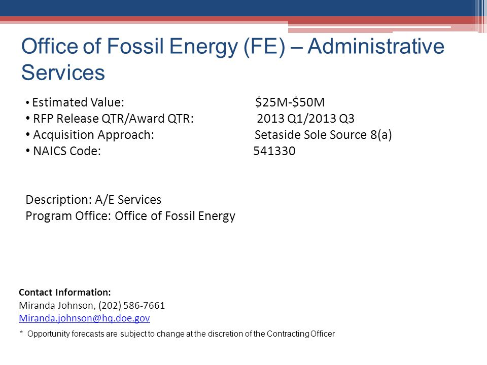 Office of Fossil Energy (FE) – Administrative Services