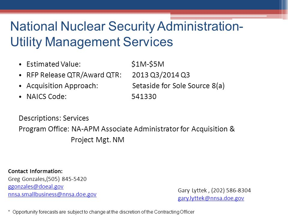 National Nuclear Security Administration- Utility Management Services