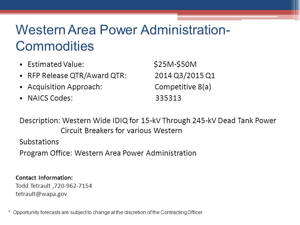 Western Area Power Administration-Commodities