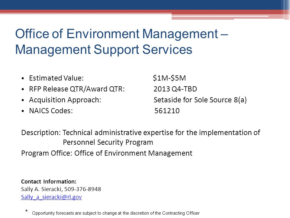 Office of Environment Management –Management Support Services