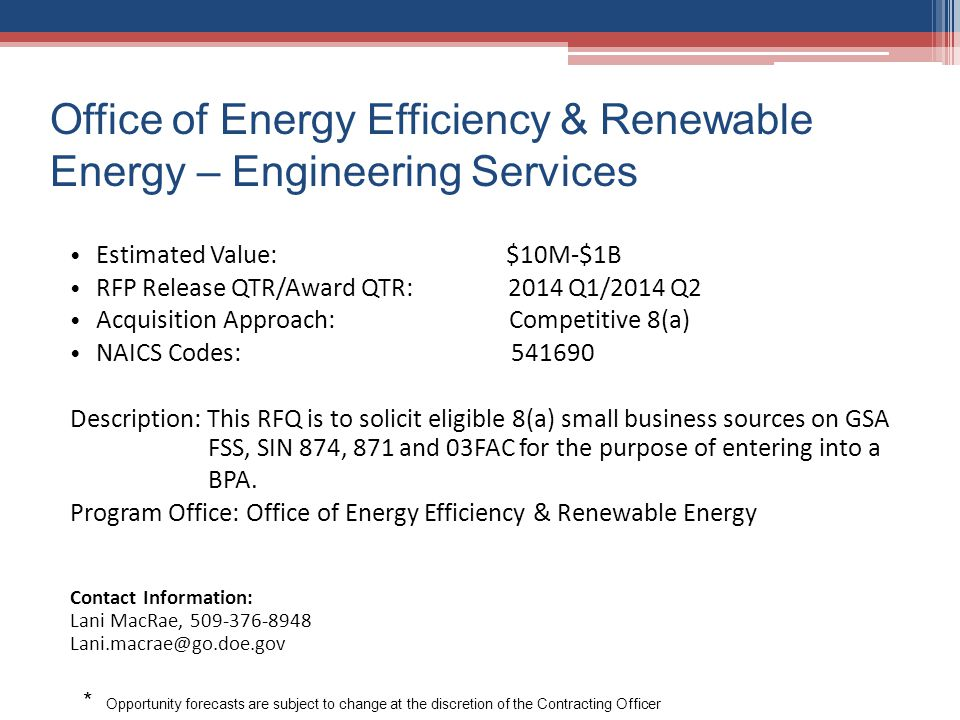 Office of Energy Efficiency & Renewable Energy – Engineering Services