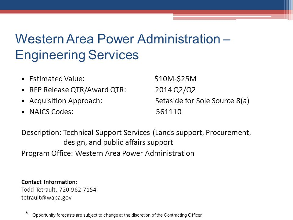 Western Area Power Administration –Engineering Services