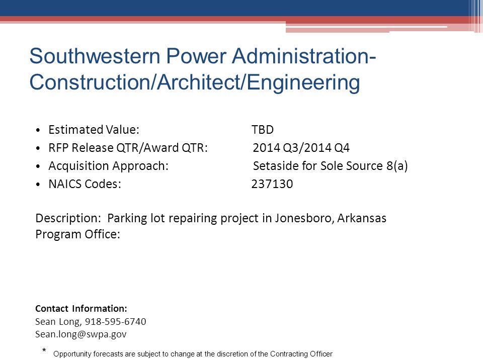 Southwestern Power Administration-Construction/Architect/Engineering