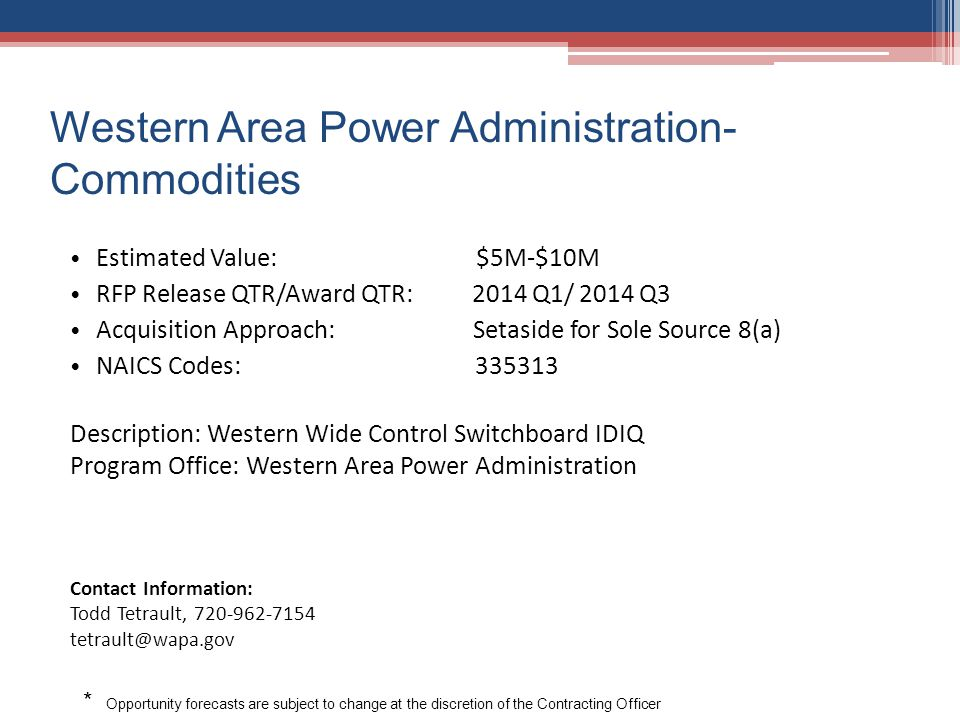 Western Area Power Administration- Commodities