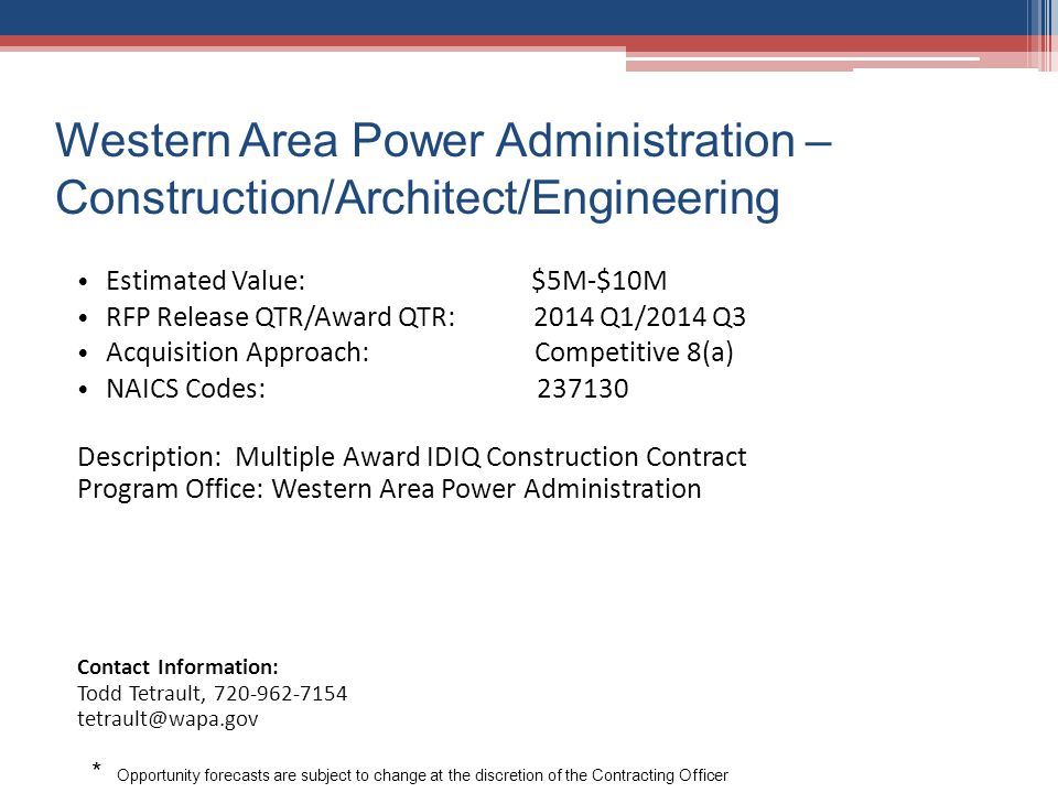 Western Area Power Administration – Construction/Architect/Engineering