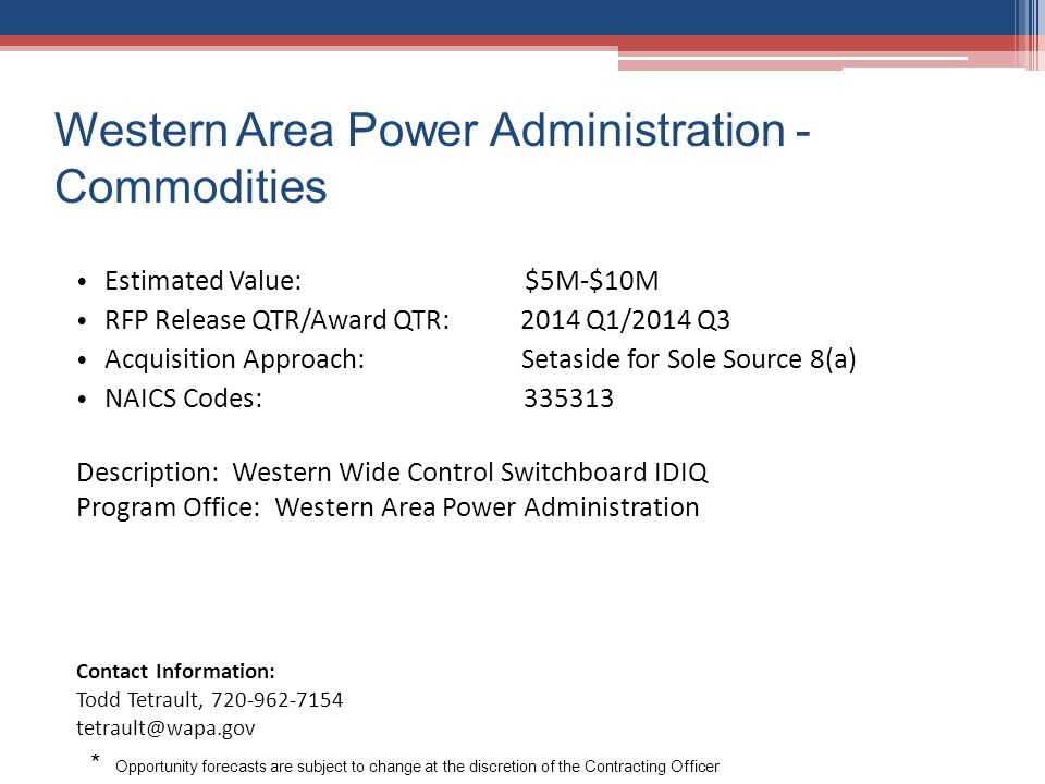 Western Area Power Administration - Commodities