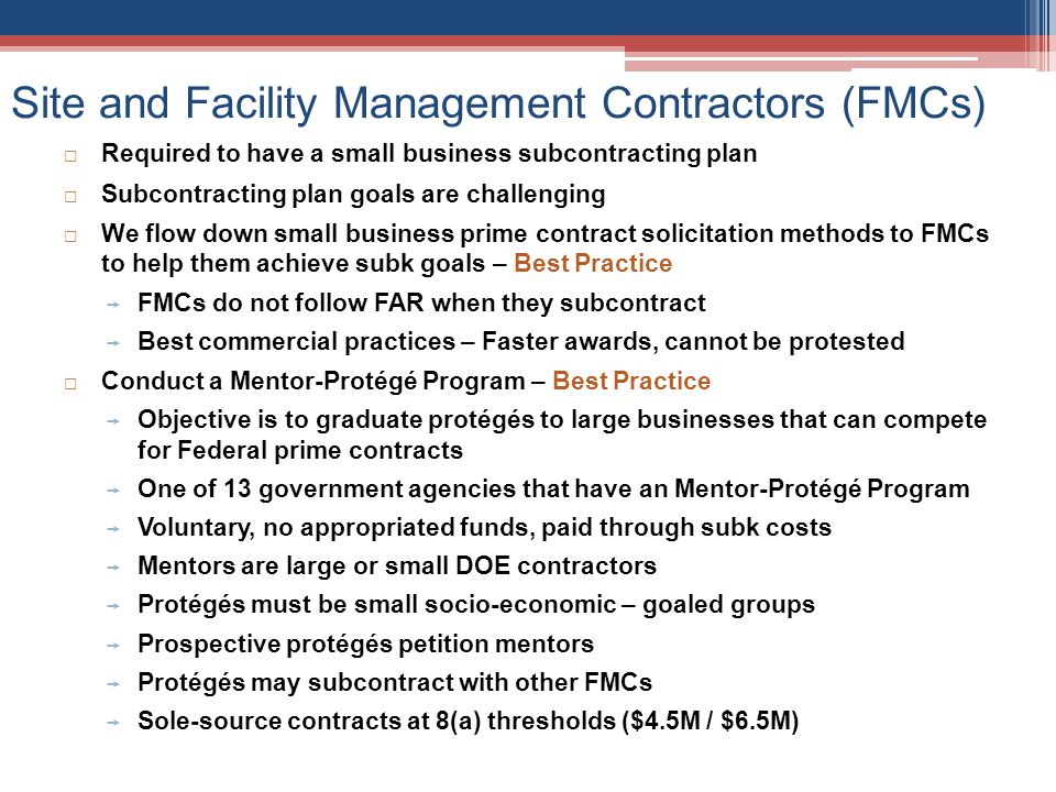 Site and Facility Management Contractors (FMCs)