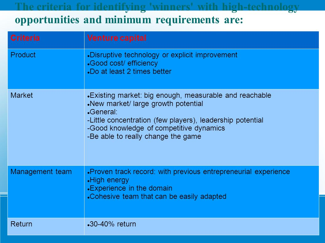 The criteria for identifying winners with high-technology opportunities and minimum requirements are: