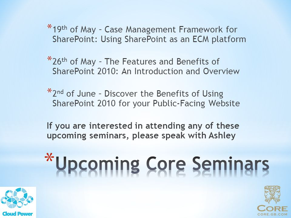Upcoming Core Seminars