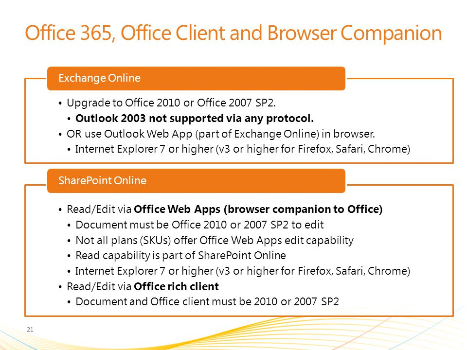 Office 365, Office Client and Browser Companion
