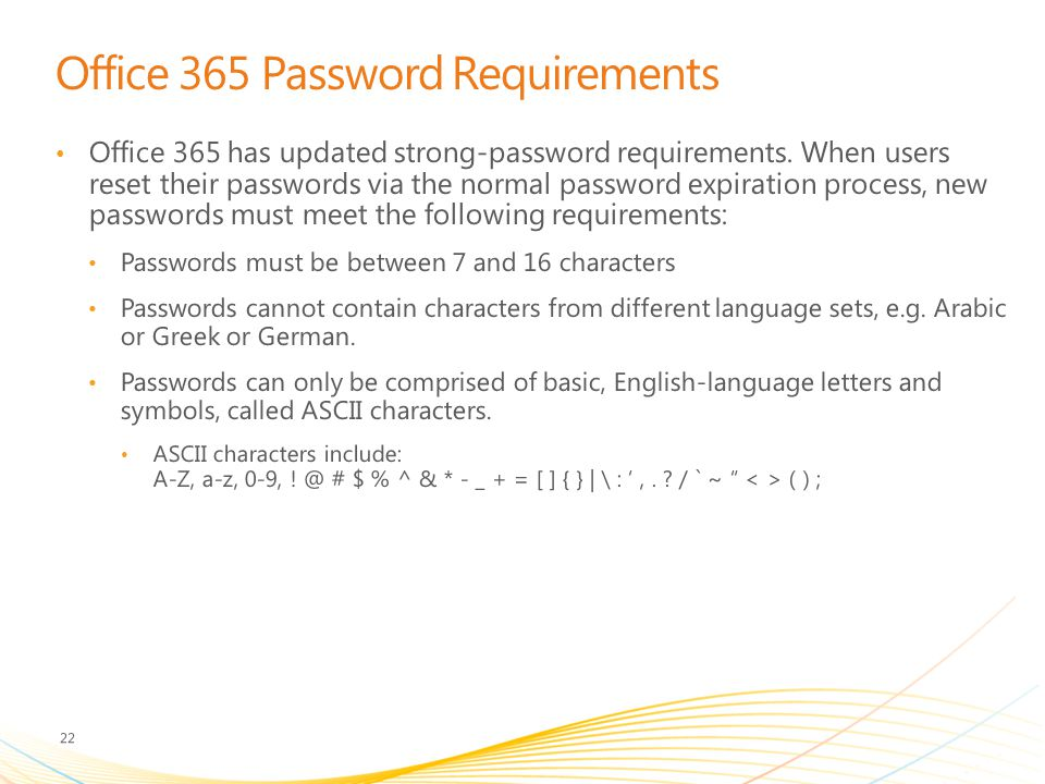 Office 365 Password Requirements