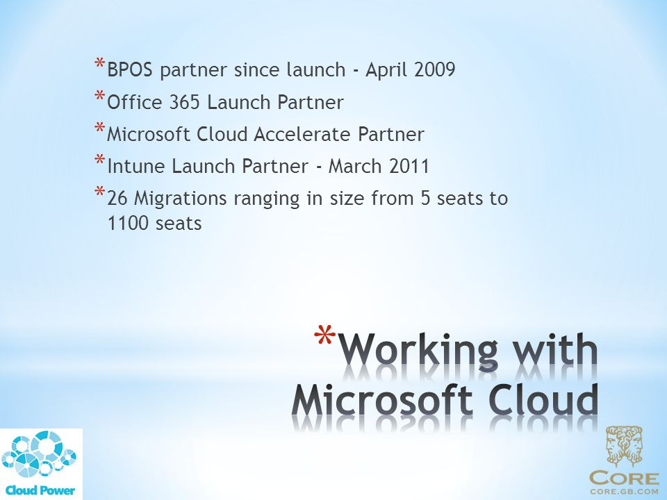 Working with Microsoft Cloud