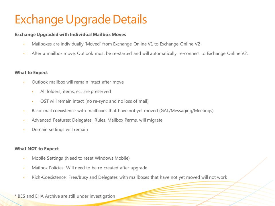 Exchange Upgrade Details