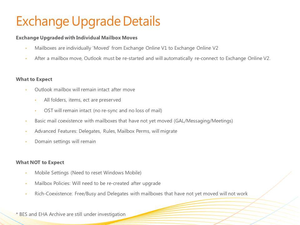 Exchange Upgrade Details
