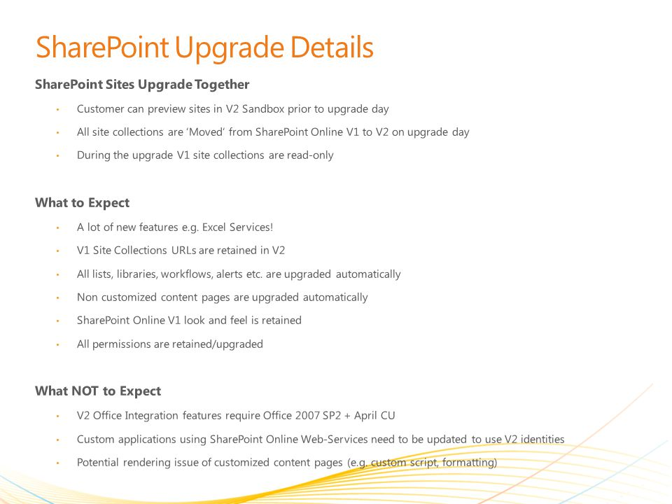 SharePoint Upgrade Details