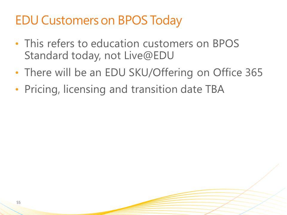 EDU Customers on BPOS Today