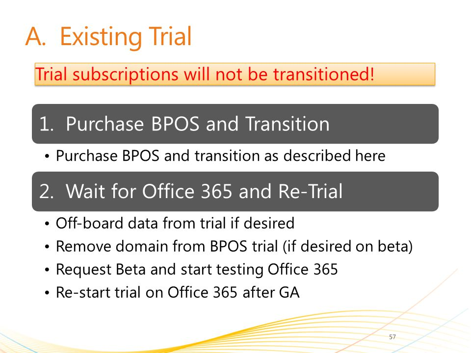 A. Existing Trial Trial subscriptions will not be transitioned!