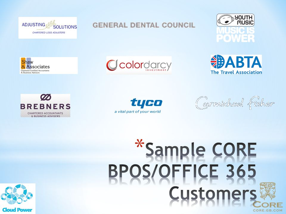 Sample CORE BPOS/OFFICE 365 Customers