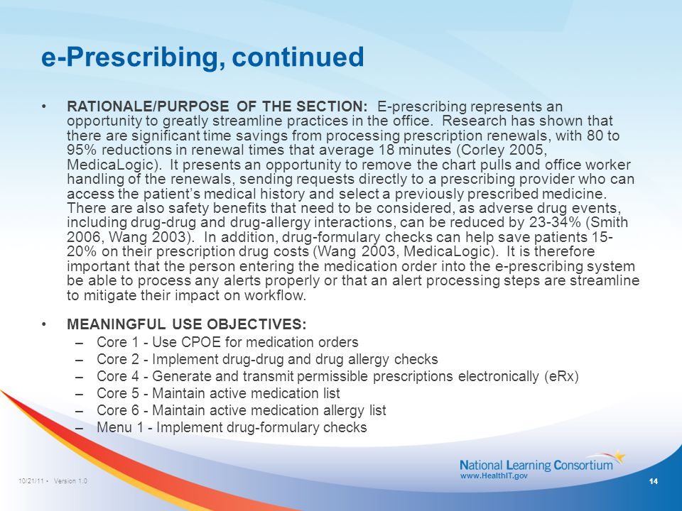 e-Prescribing Workflow Template: During Office Visit