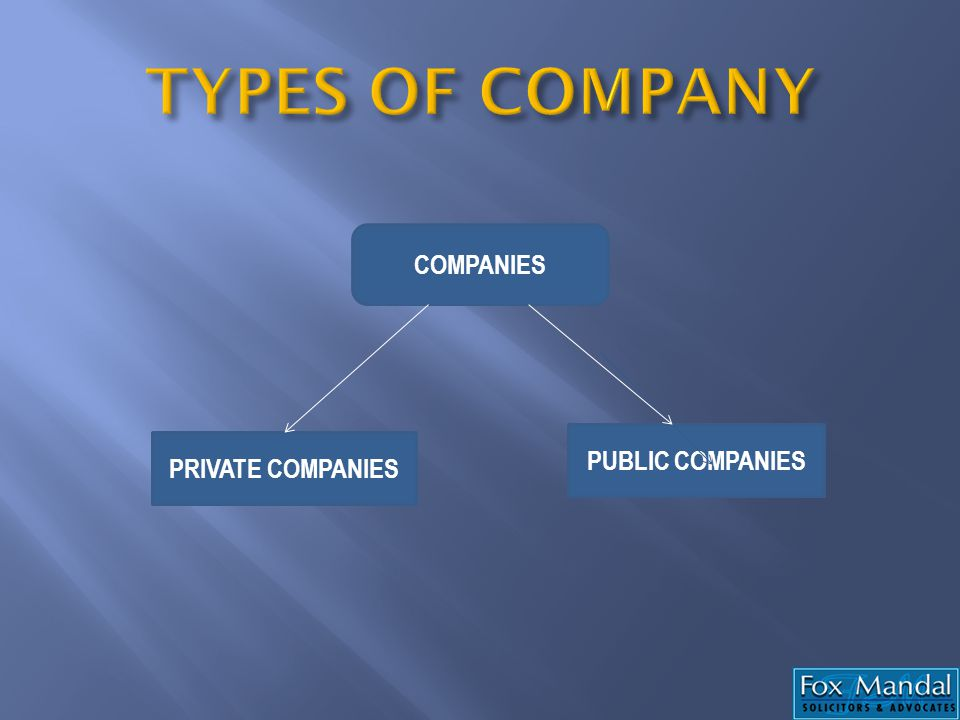TYPES OF COMPANY COMPANIES PUBLIC COMPANIES PRIVATE COMPANIES
