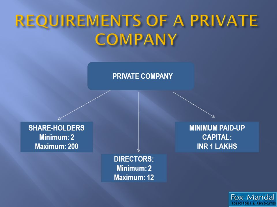 REQUIREMENTS OF A PRIVATE COMPANY