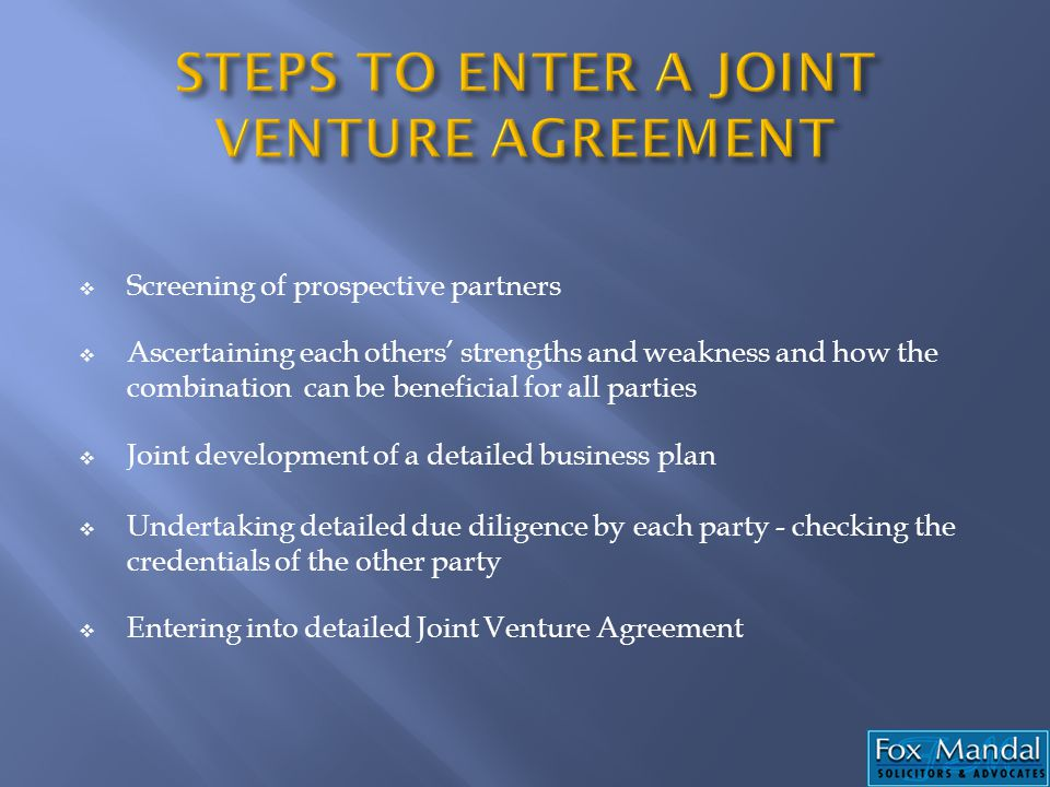 STEPS TO ENTER A JOINT VENTURE AGREEMENT