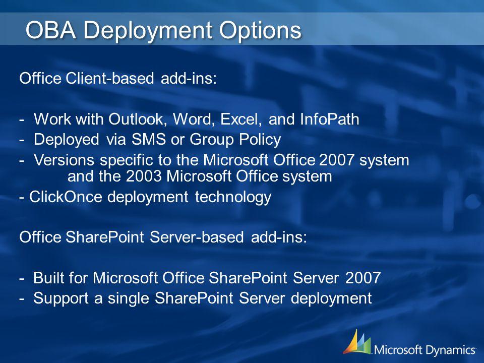 OBA Deployment Options