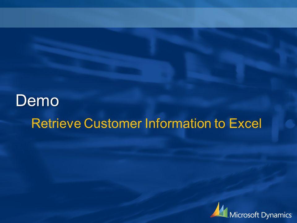 Retrieve Customer Information to Excel