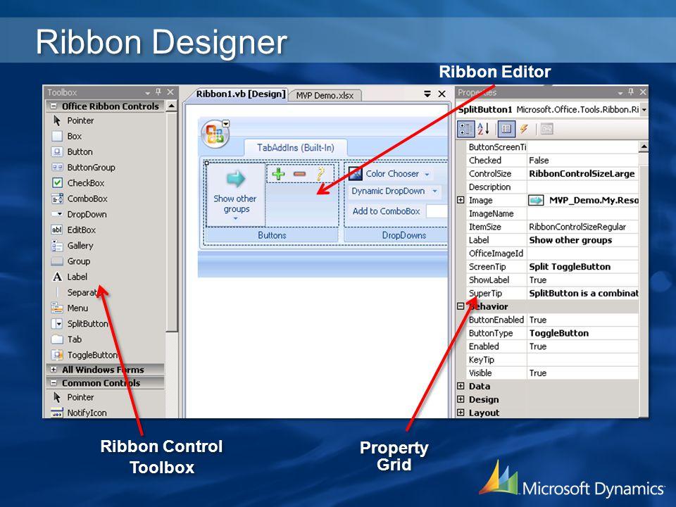 Ribbon Designer Ribbon Editor Ribbon Control Property Grid Toolbox