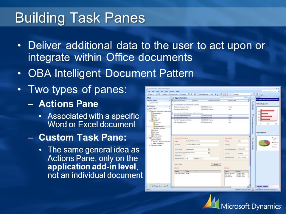 4/2/2017 3:19 AM Building Task Panes. Deliver additional data to the user to act upon or integrate within Office documents.