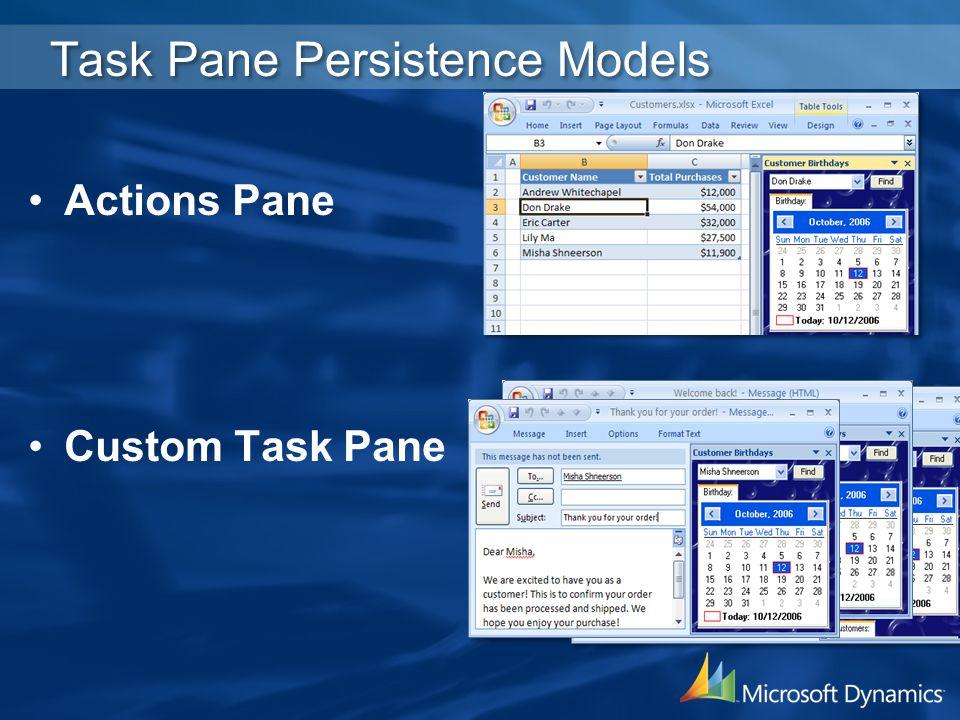 Task Pane Persistence Models