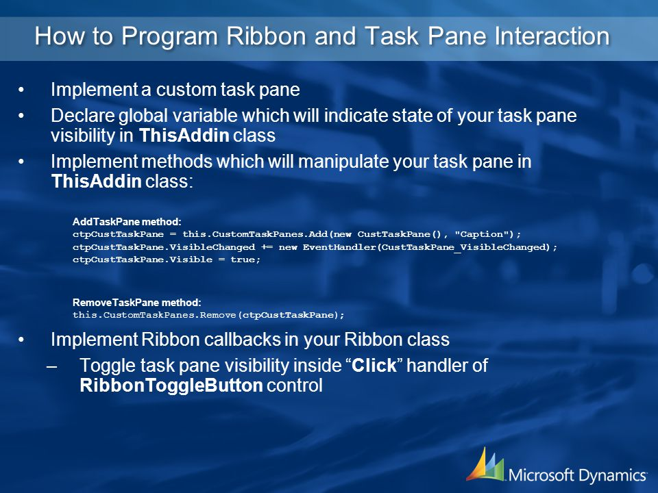 How to Program Ribbon and Task Pane Interaction