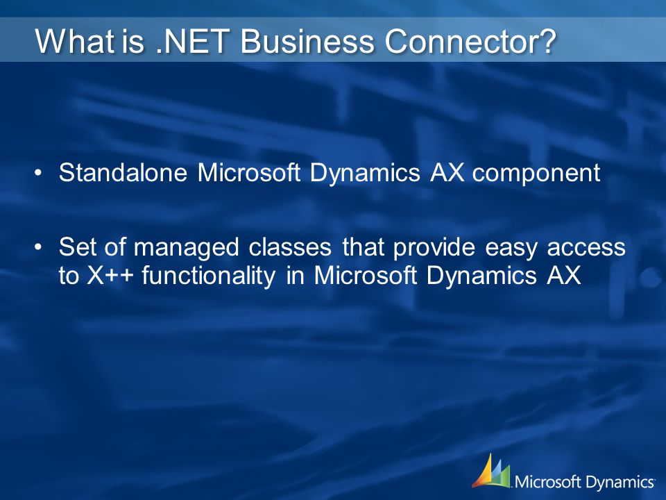 What is .NET Business Connector