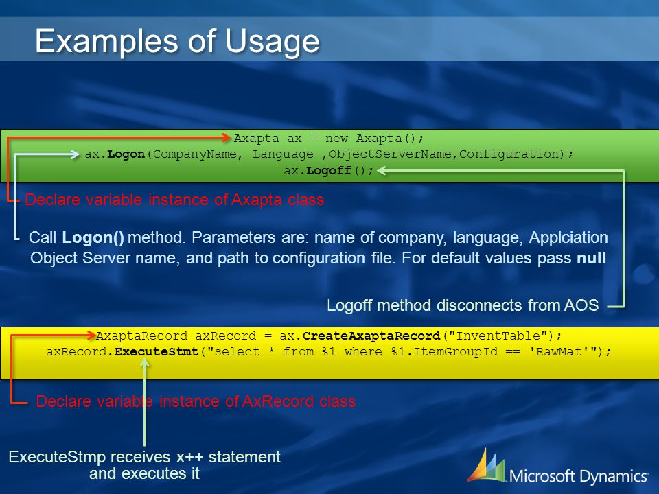 Examples of Usage Declare variable instance of Axapta class