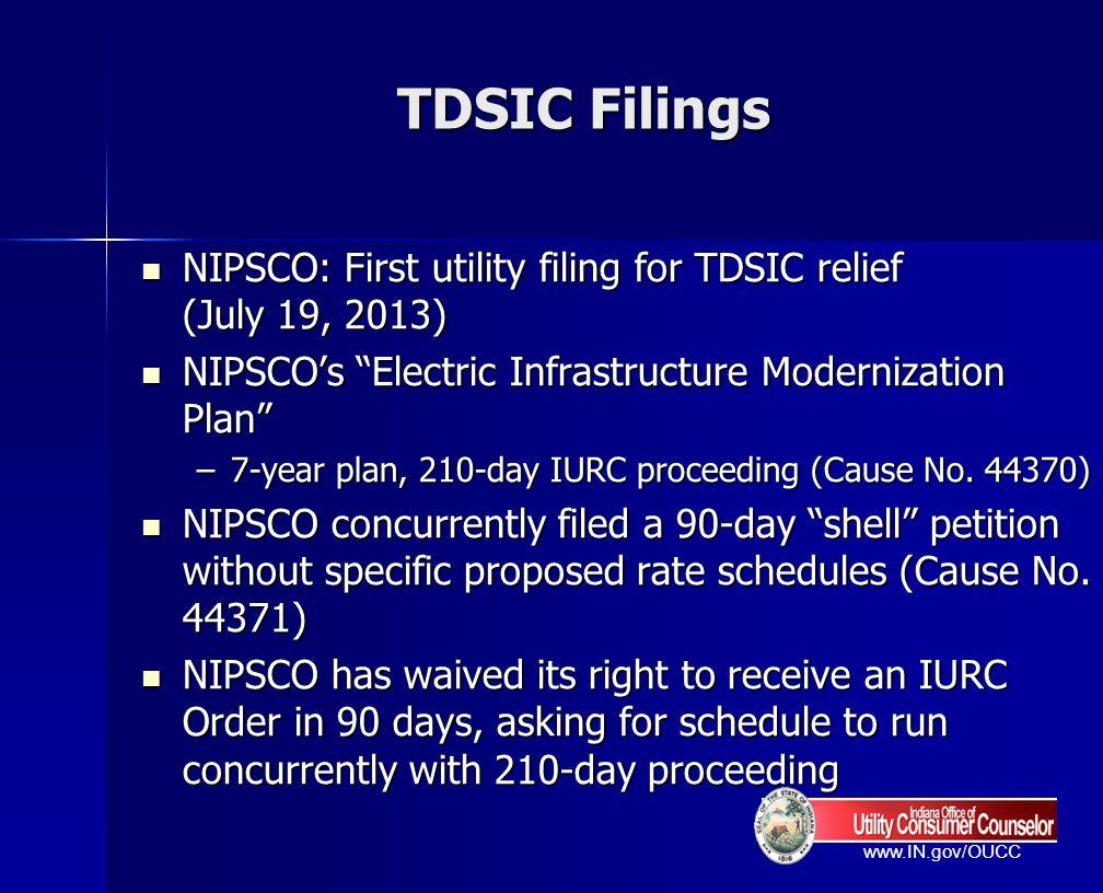 TDSIC Filings NIPSCO: First utility filing for TDSIC relief (July 19, 2013) NIPSCO's Electric Infrastructure Modernization Plan